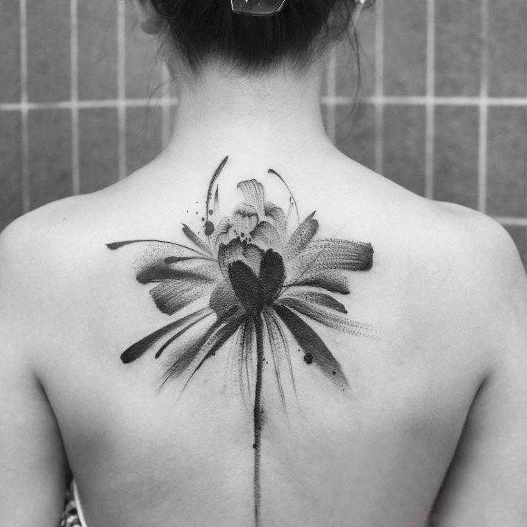 Rear back tattoo girl girl behind black flower tattoo picture