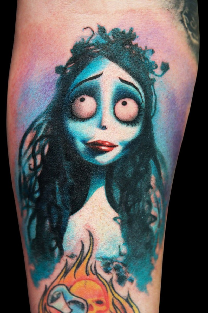 Famous colored cartoon zombie bride's arm tattoo pattern