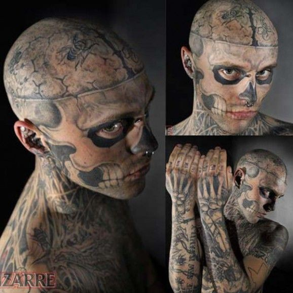 Male whole armored monster skeleton tattoo pattern