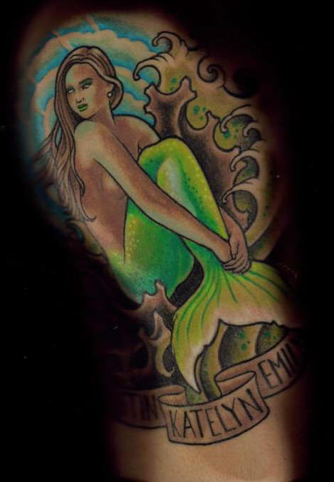 Shoulder color mermaid in the ocean tattoo picture