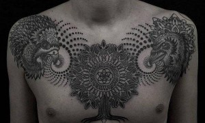Man full chest black spierring style life tree and eagle tattoo picture