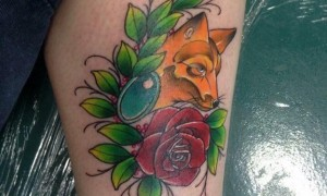 Girls' calf, painted gradient, simple line, plant flowers and fox tattoo pictures
