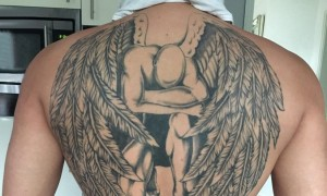 Rear back tattoo male boys behind black angel tattoo picture