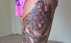 Thigh tattoo traditional female thighs on white pigeons and character tattoo picture