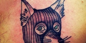 Pick-blooded wolf head tattoo boys chest black gray drops of blood wolf head tattoo picture
