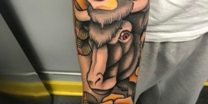 Bulls Tattoo tattoo boys arm on yellow rose and cow tattoo picture