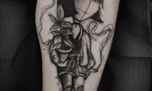 A group of gothic gothic style dark tattoo pattern 9