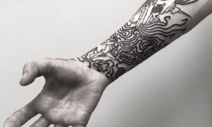 Very wonderful line consisting of 9 black gray points tattoo pattern