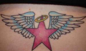 Waist color five-pointed star and wings tattoo pattern