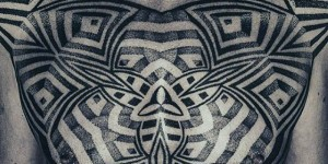 Higher black and white Polynesia totem tattoo pattern
