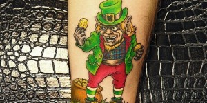 Arms Color Cartoon Gold Coins and Demon Tattoo Pattern