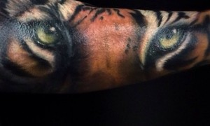 The arm is amazing very natural tiger facial tattoo pattern