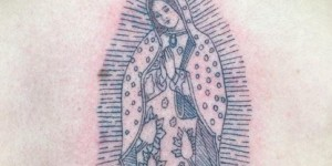 Squirting Black Thread Style Guanyin Tattoo Picture