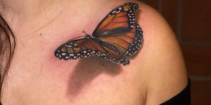 Incredible 3D Butterfly Tattoo On Left Collarbone For Women