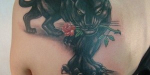 Black Leopard with rose back tattoo pattern