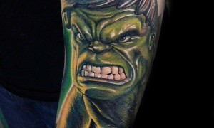 Arm colorful angry green giant cartoon tattoo pattern